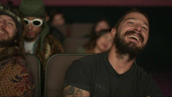 Shia LaBeouf laughing at a scene of Surfs Up! during #AllMyMovies