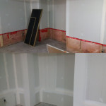 Wilbert Cox Project / Image / disaster restoration / drywall and insulation installation / vapor barrier / before and after