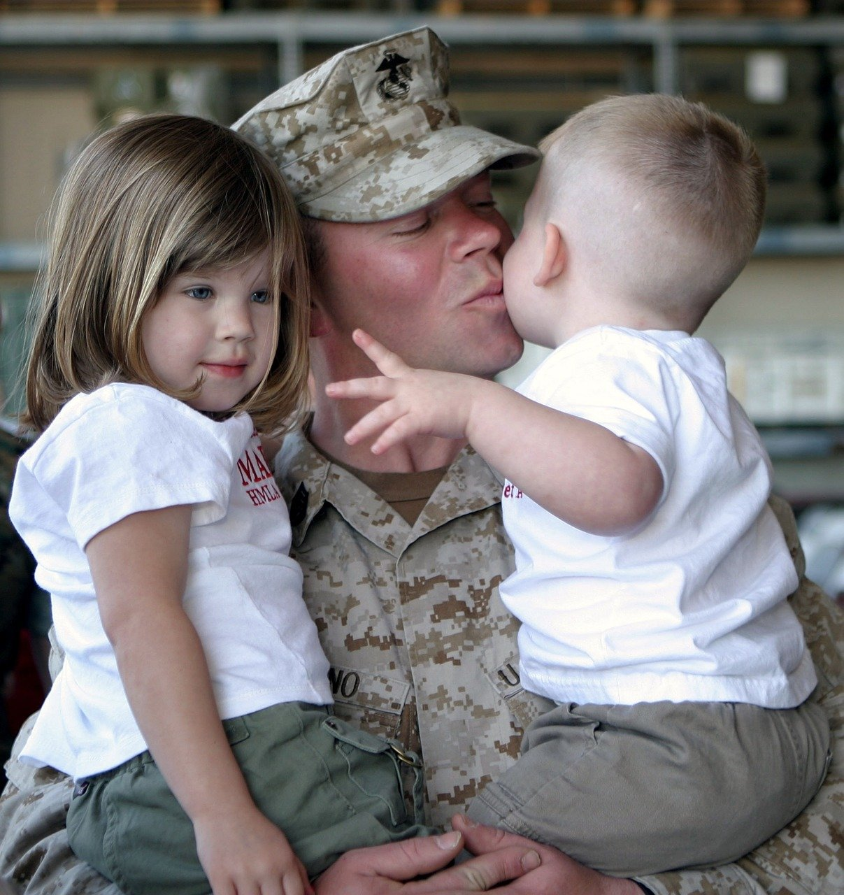 soldier, children, family