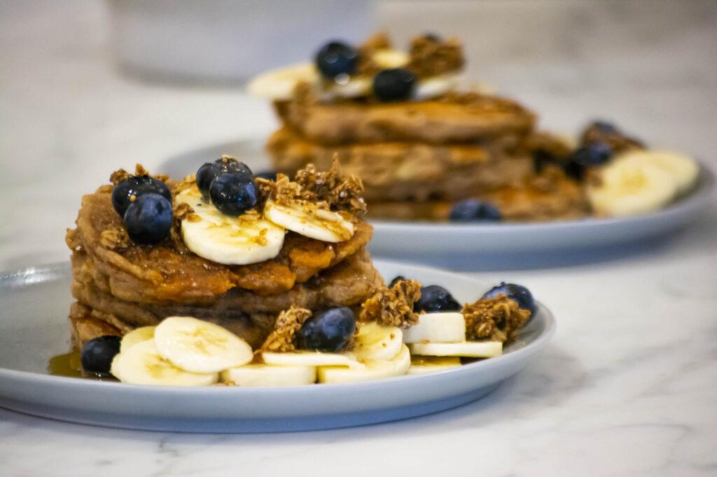 vegan banana pancakes with blueberries