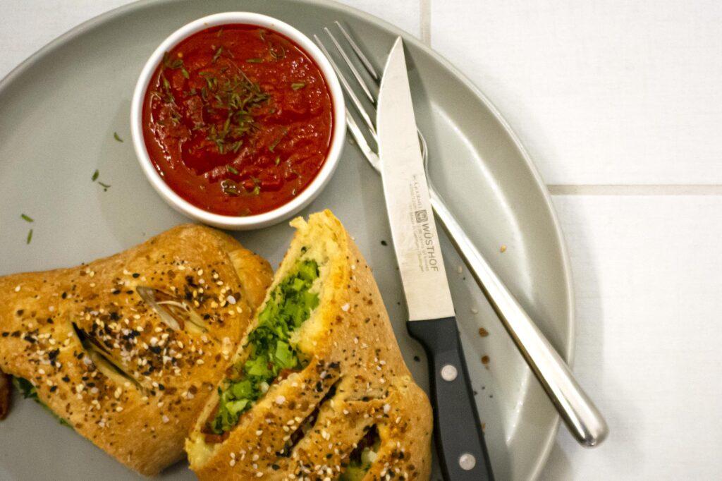 vegan marinara sauce with stromboli