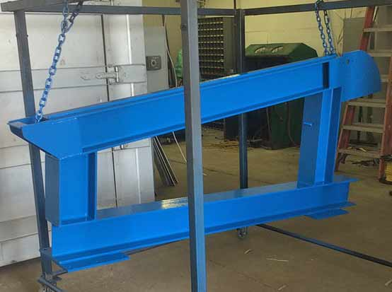 A finished powder coated component for a truss loading assembly. Powder coating Indianapolis, Moorseville, Brownsburg, Greenwood, Smith Valley, Franklin, Bargersville, Bloomington, Martinsville, Shelbyville, Lafayette, Lebanon, Plainfield, Avon, Clayton, Greenfield, Anderson, Pendleton, Fortville, McCordsville, Lawrence, Beech Grove, Noblesville, Carmel, Fishers and Whiteland Indiana.