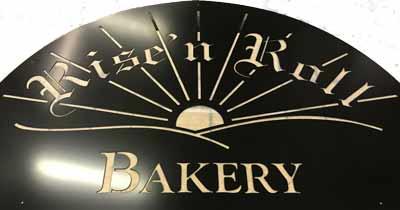 Local bakery custom sign media blasted and powder coated Satin Black.