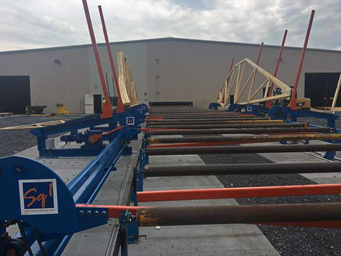 The completed and installed truss loading system using steel components powder coated by Mayes Powder Coating and Sandblasting.