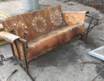 Antique sofa glider before media blasting. Powder coating Indianapolis Indiana, Whiteland, Greenwood, Danville, Southport, Franklin, Smith Valley, Cumberland, Plainfield, Avon, Brownsburg, Clermont, McCordsville, Martinsville, Marion, New Palestine, Greenfield, Mt. Comfort, Lawrence,