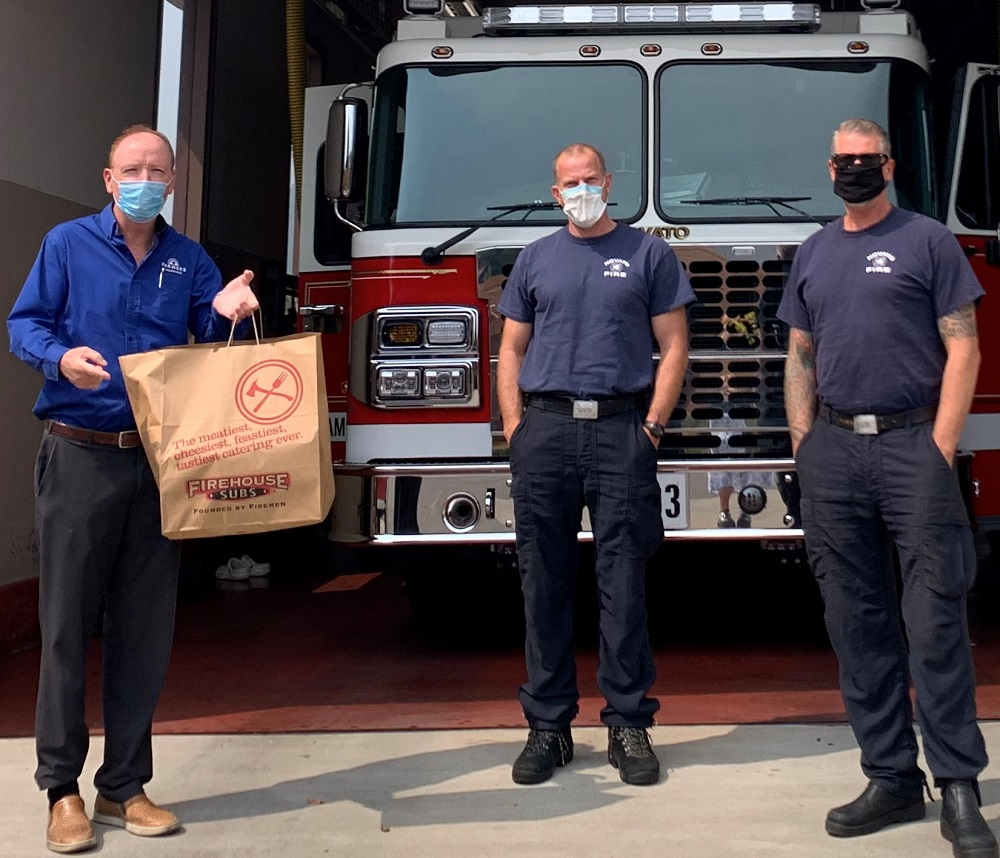 Kevin Boland delivering meals to Novato Fire