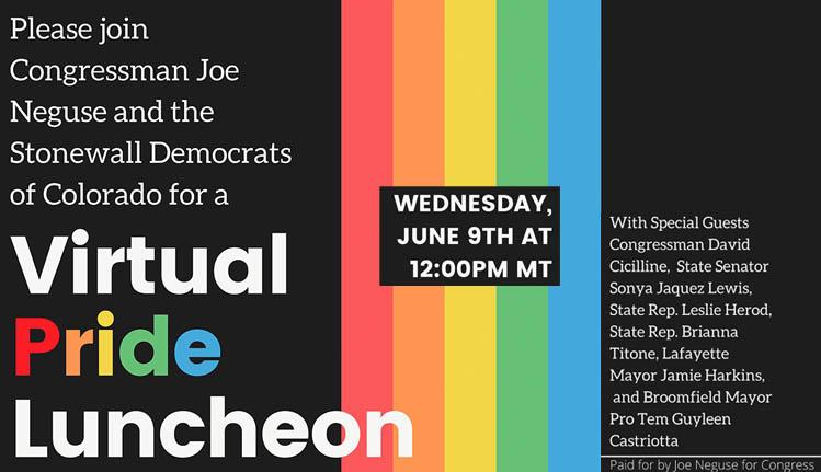 Pride Luncheon with Rep. Joe Neguse and the Stonewall Democrats of Colorado