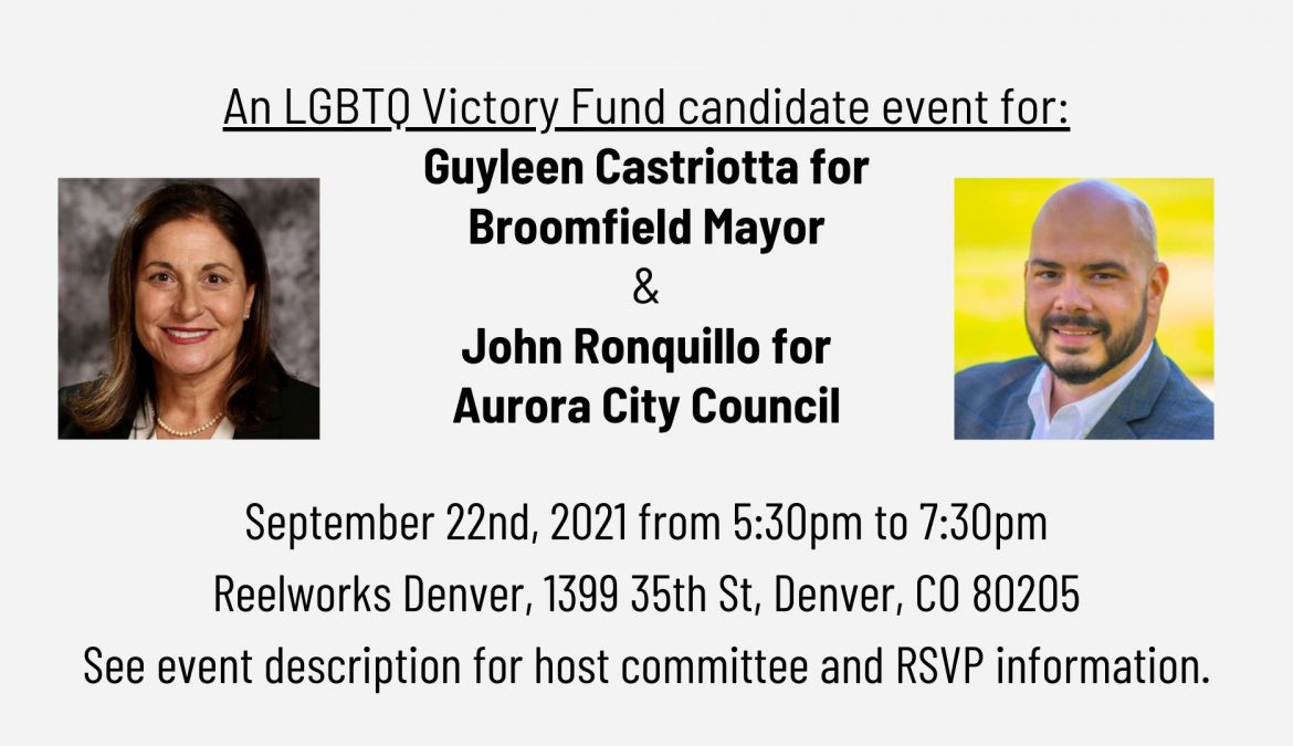 An LGBTQ Victory Fund candidate event for Guyleen Castriotta and John Ronquillo