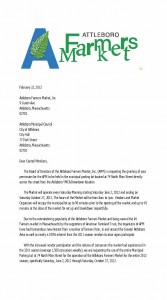 Attleboro Farmers Market letter to the City Council, page 1 of 2