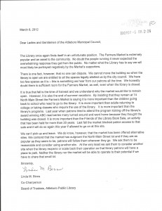 Attleboro Public Library letter to the City Council