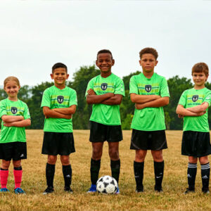 young soccer players posing for camera