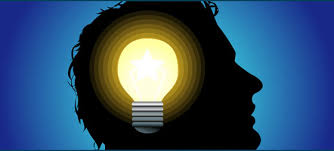 A black silhouette of a man with a light bulb in his head.