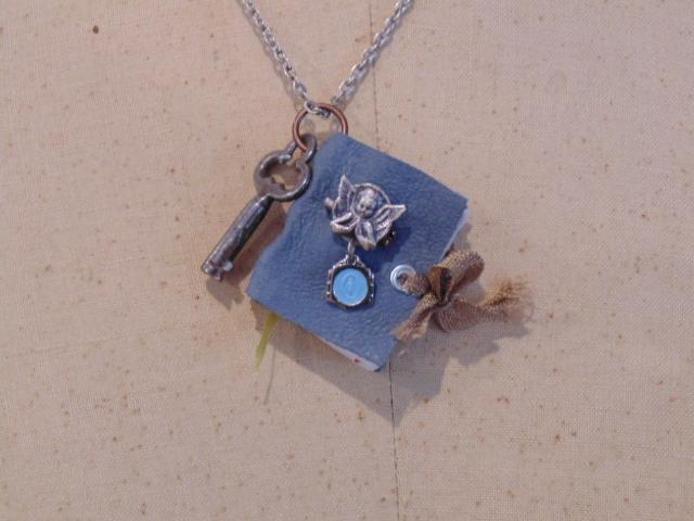 Blue Mini Book Pendant Necklace