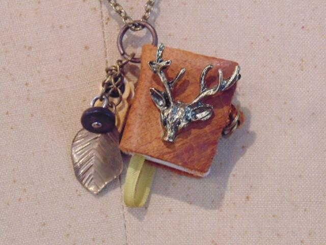 Deer Head Mini Book Pendant Necklace