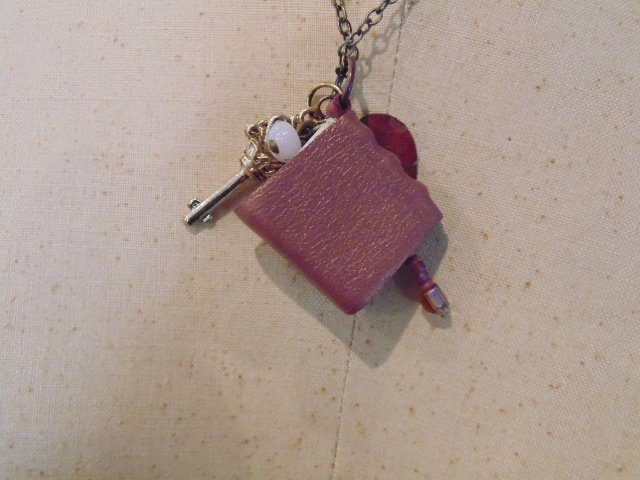 Pink Gold Mini Book Pendant Necklace