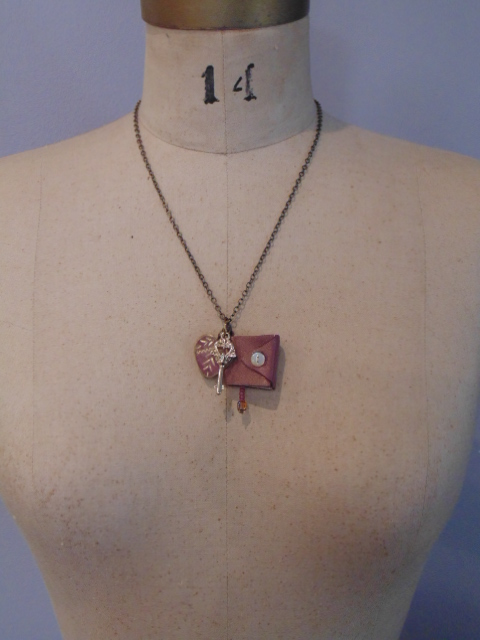 mini leather book pendant necklace