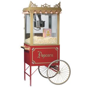 A red popcorn machine