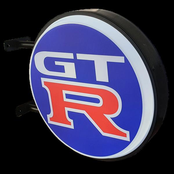 Blue Nissan GTR 12v LED Retro Bar Mancave Light Sign