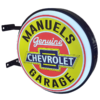 Your Name Chev Garage 12v LED Retro Bar Mancave Light Sign