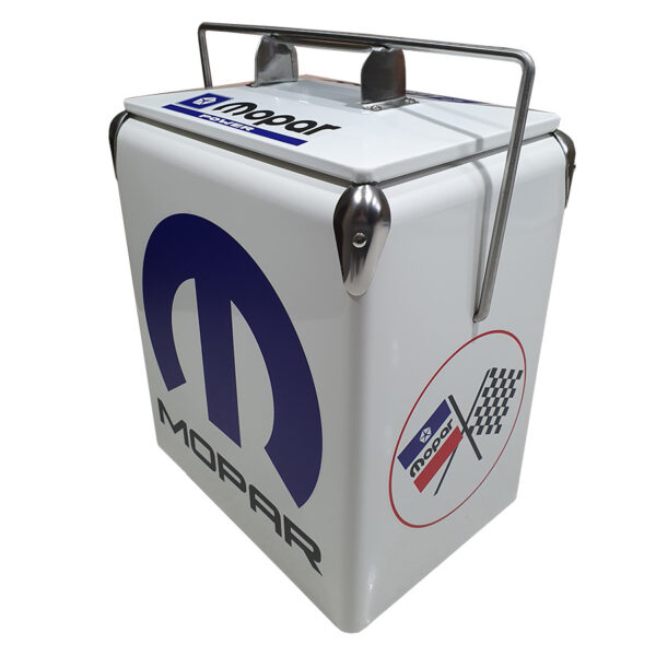 MoPar White Retro Esky - 17lt Retro Cooler - Corner 2
