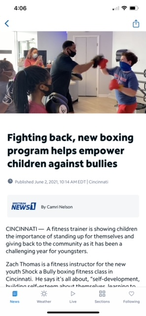 Screenshot of news article discussing boxing program to fight back against bullying