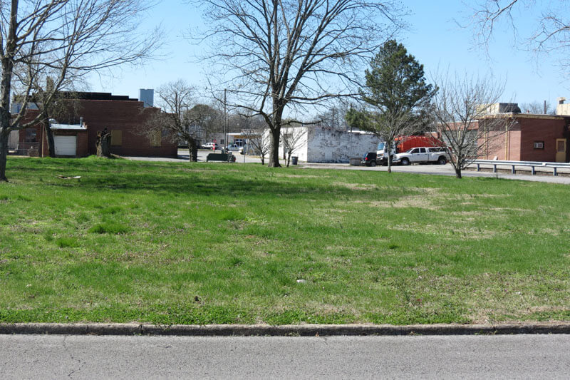 Parking area across the street from the northwest corner of the park