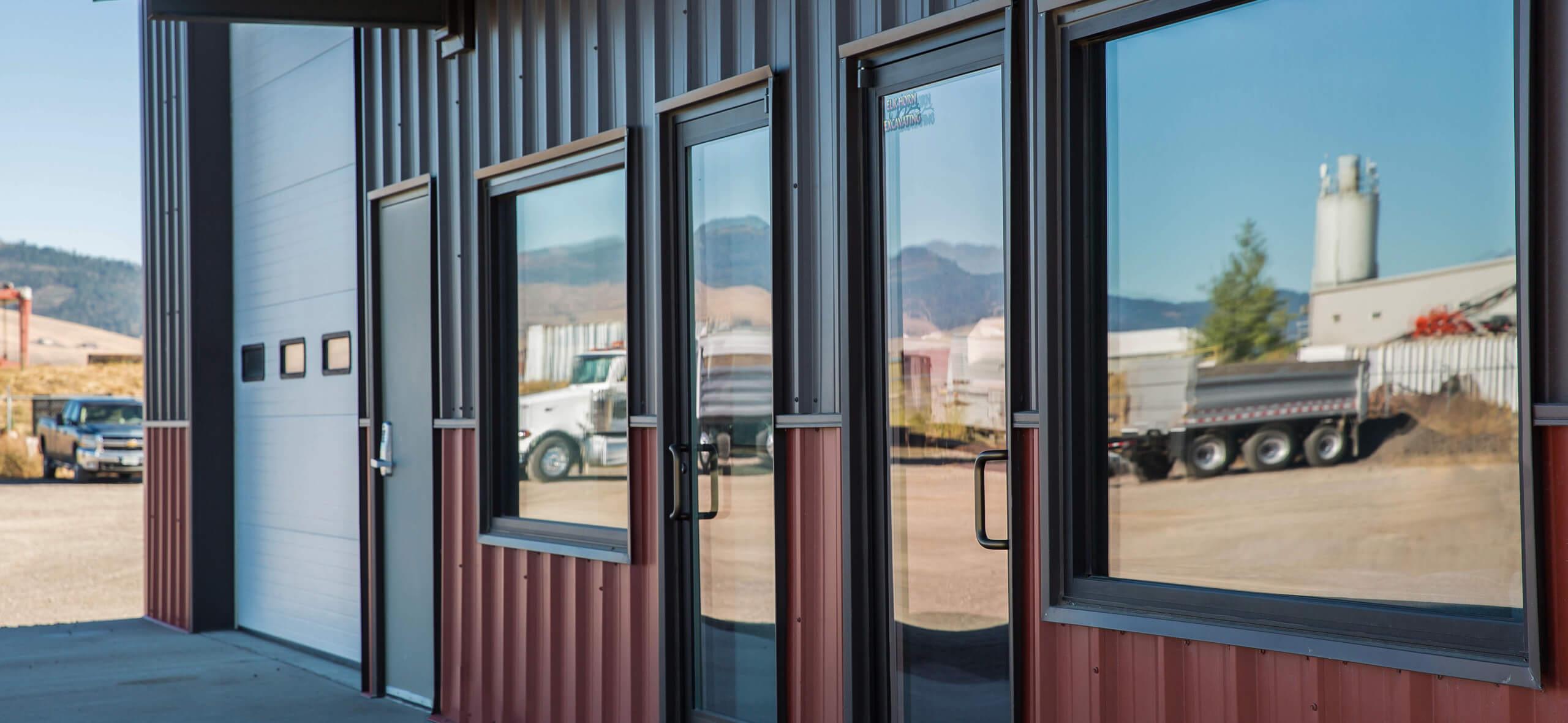 closeup of CBC Steel Building doors