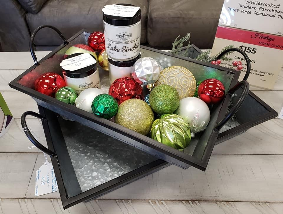 ornaments in tray