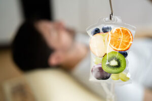 person getting nutritional iv