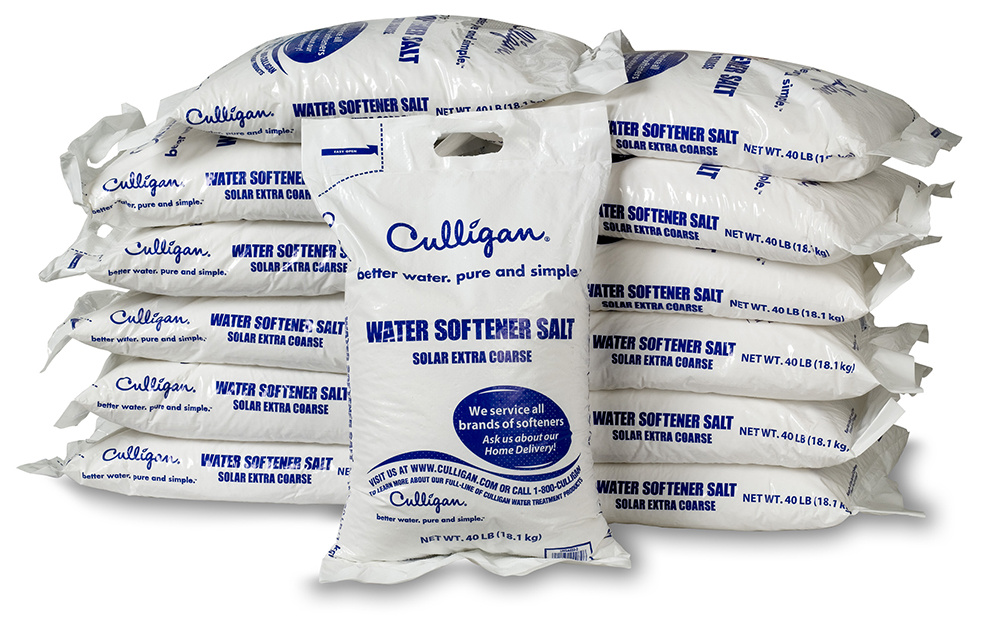 Culligan of Chickasha and Ardmore Salt bags stack