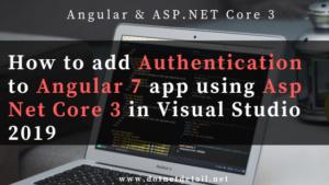Authentication to Angular 7 app using asp net core 3