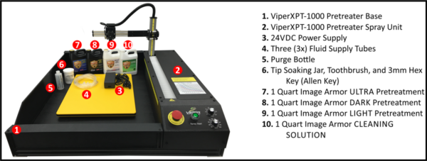 Viper XPT-1000 DTG Pretreatment Machine Included Items