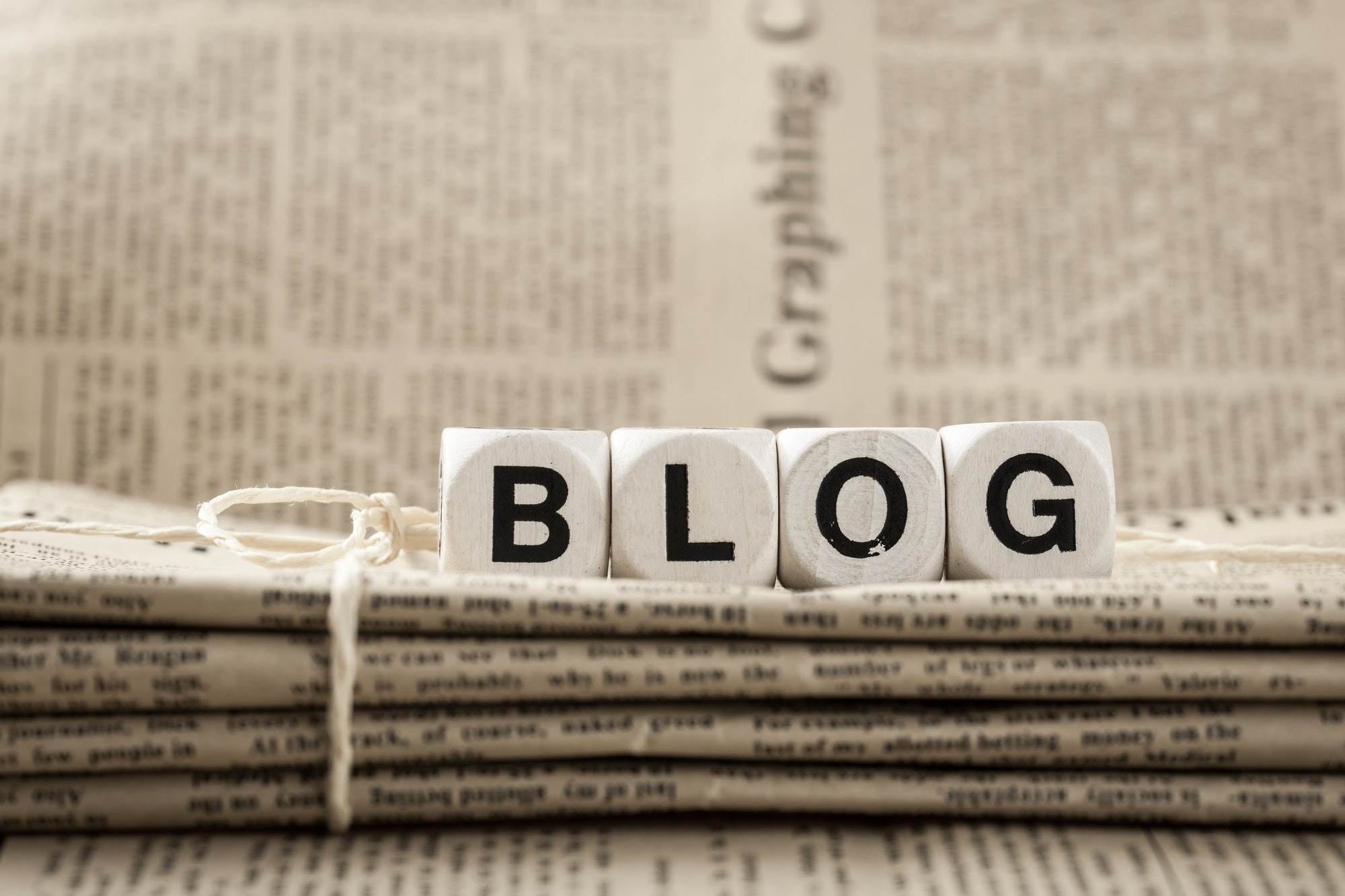 Blog word and newspapers
