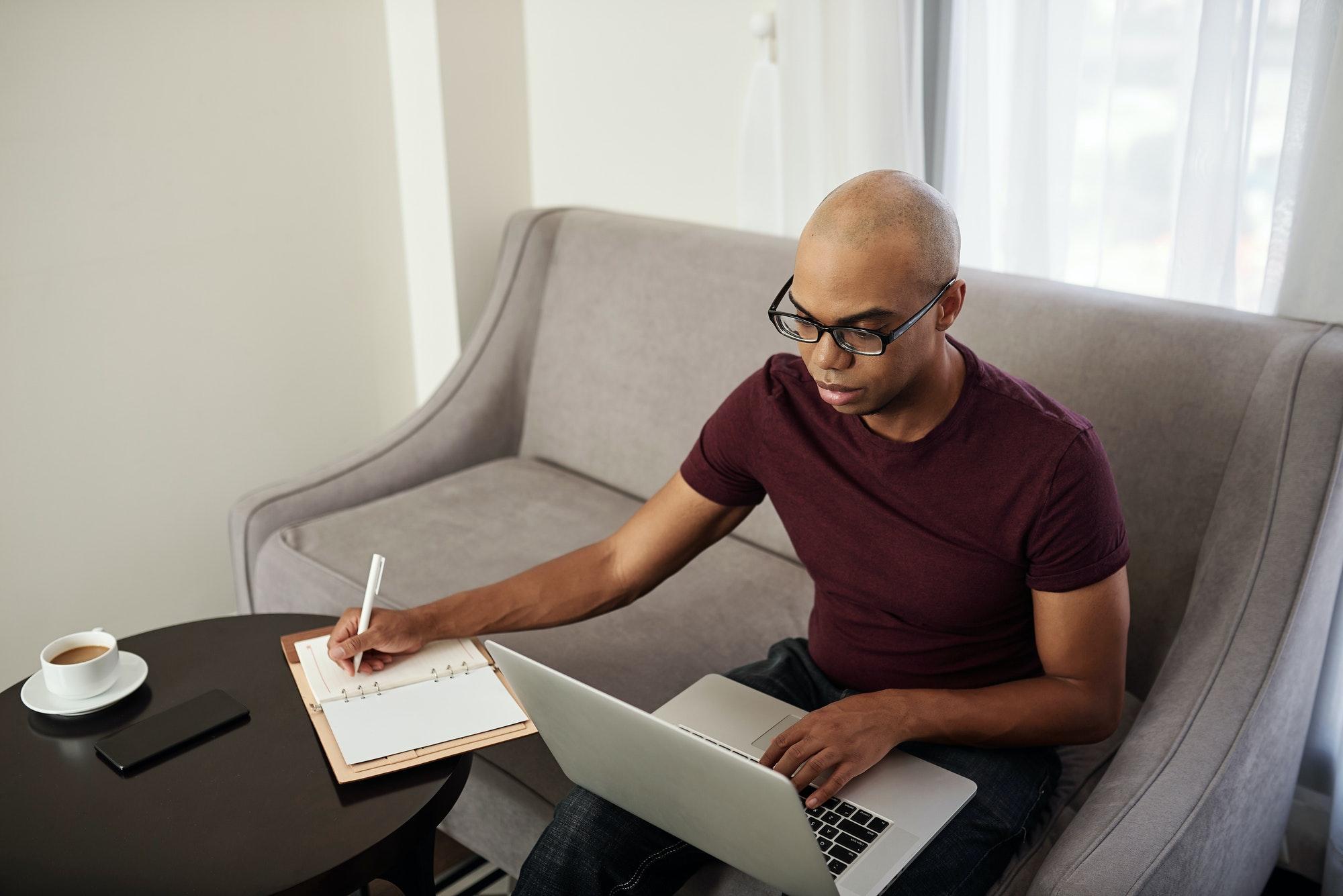 Man watching webinar