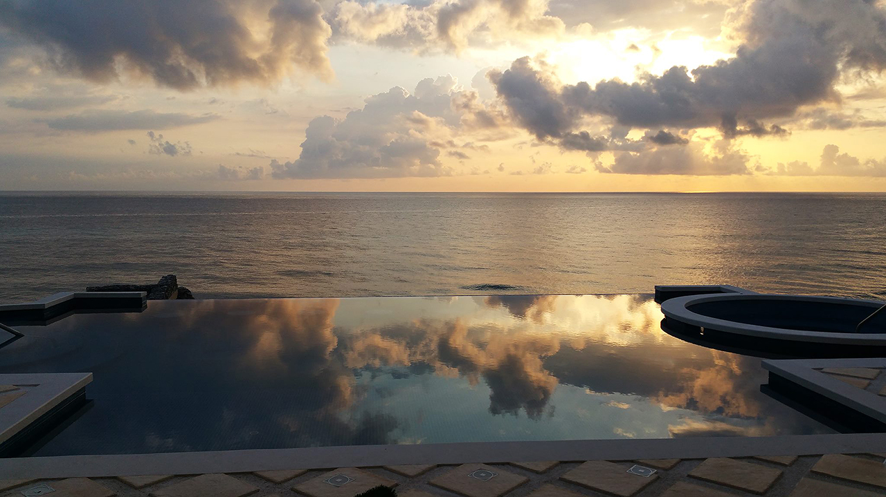 Infinity pool at sunrise