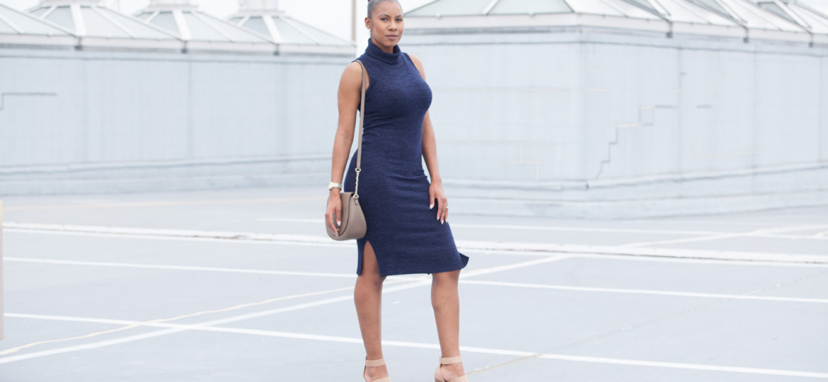 dresses for busty women, dresses for curvy women, busty girl approved, NessaSary Style, lulus, lulus dress, vanessa freeman, vanessa freeman blog, vanessa freeman news 12, vanessa freeman fashion, vanessa freeman tv, How to wear bodycon dresses, bodycon dress, navy dress with turtleneck, how to wear a sleeveless dress,