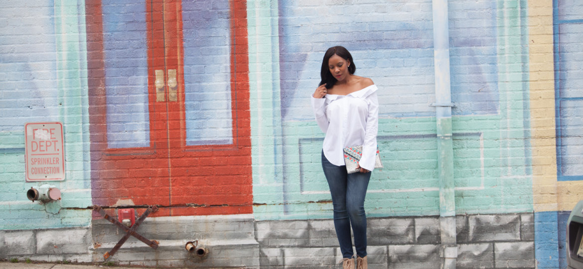 vanessa freeman, vanessa freeman tv, vanessa freeman host, vanessa freeman news 12, SheIn, Shein, shein, SheIn clothing, fluted sleeves, fall fashion, winter fashion, over the shoulder blouse with fluted sleeves