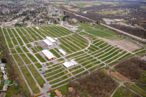 Carlisle Fairgrounds from an aerial view