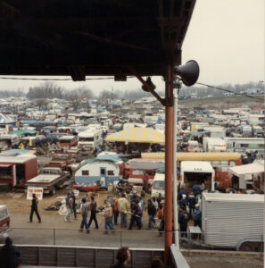A view from the grandstand at the Carlisle Fairgrounds during Fall Carlisle 1984. Image courtesy of Carlisle Productions, Inc.