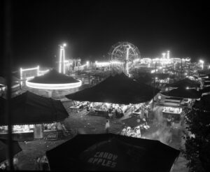Carlisle Fair at the Carlisle Fairgrounds at night. Image courtesy of the Cumberland County Historical Society.