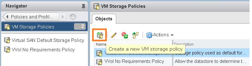 Create VM storage policy