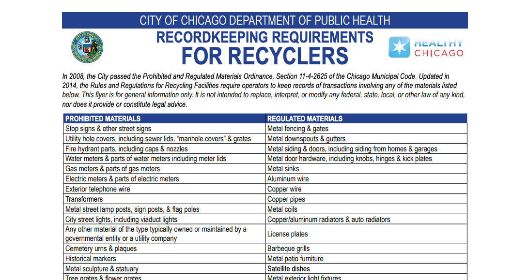 screenshot of prohibited and regulated material for the city of Chicago.