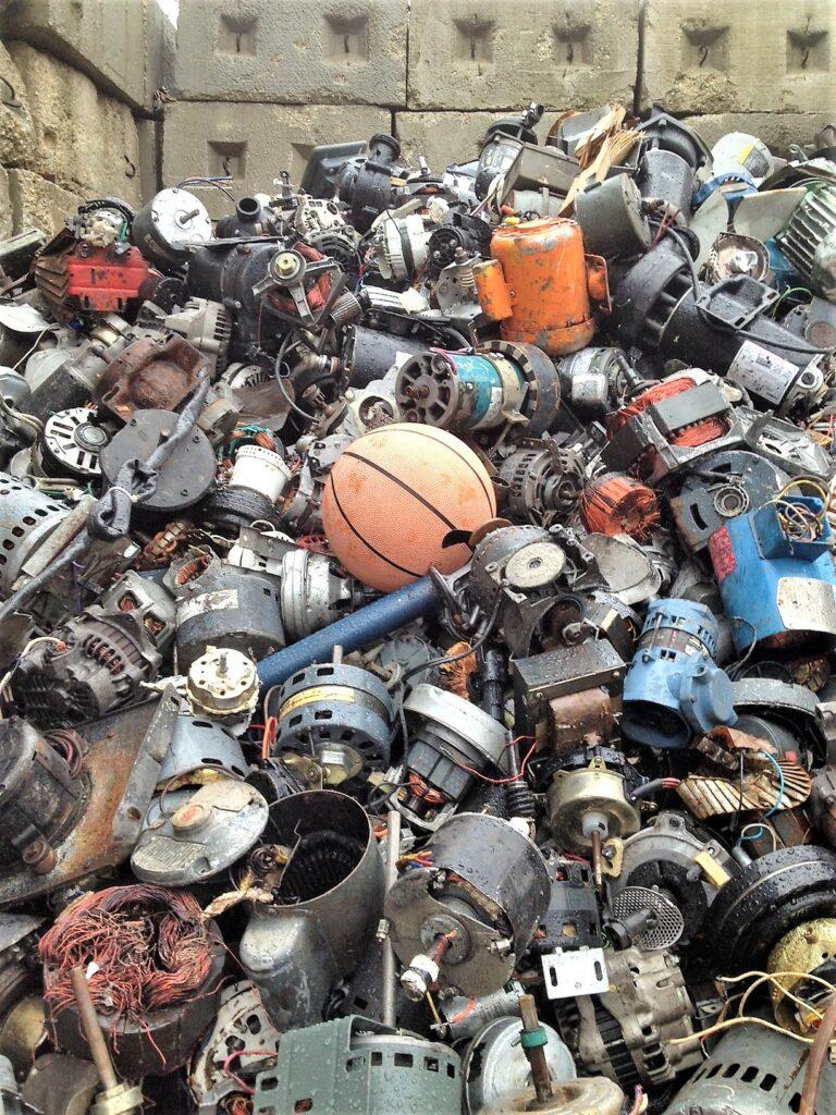 pile of scrap electric motors