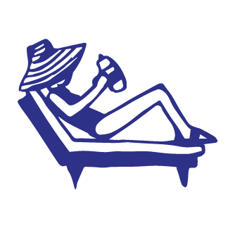 illustration of woman on chaise lounge