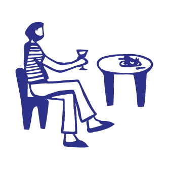 Illustration of woman at cafe