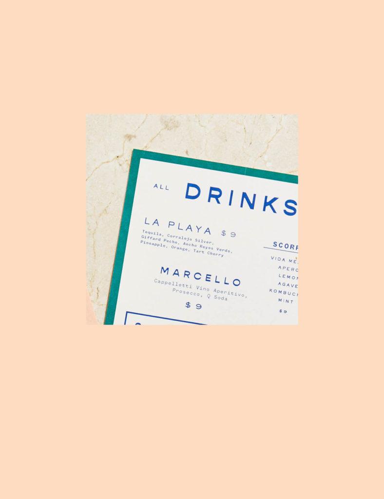 La Ventura drink menu