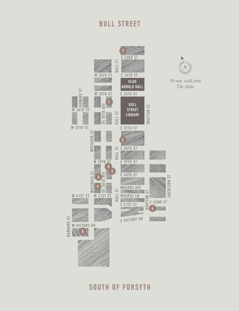 Alida city guide map illustration