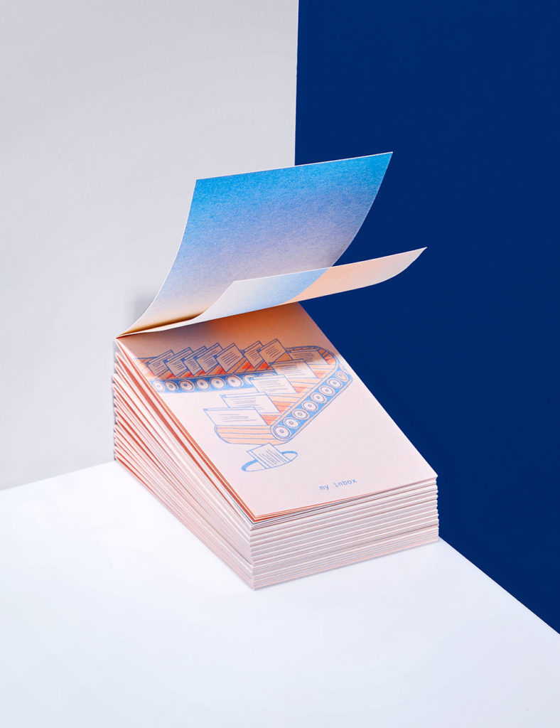 stack of illustrated risograph printed booklets