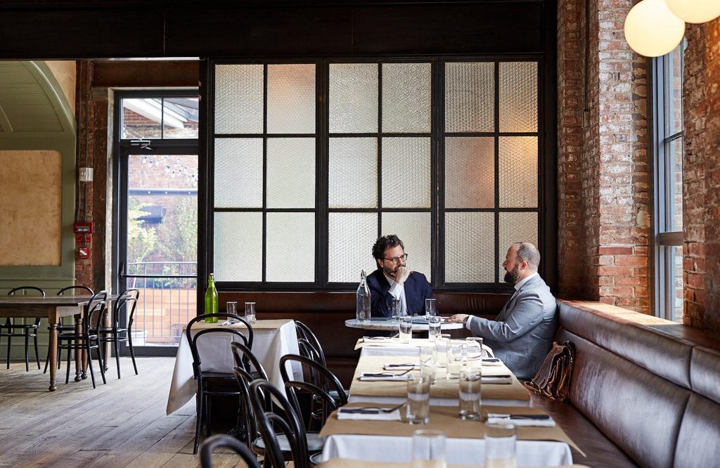 David Helbraun and Joseph Levey at a restaurant