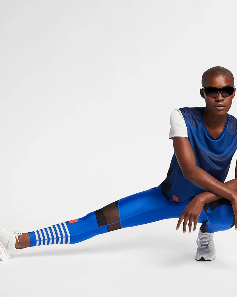 Woman in 2019 Tokyo Marathon for Nike by LMNOP apparel.